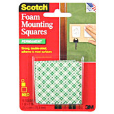 Scotch Permanent Foam Mounting Squares - 1""